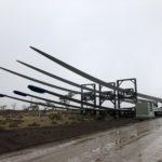 Goldwind turbine blades at Cattle Hill Wind Farm site